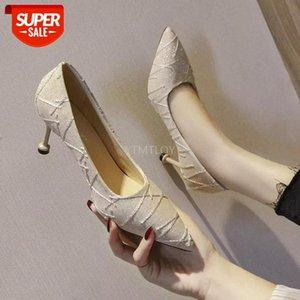 Tamaño 34-39 Tacones altos para mujer Sexy Party Slim Punto puntiagudo Shoes Buces Solosas Bombas negras Zapatos Rojos Mujer Red # TD14