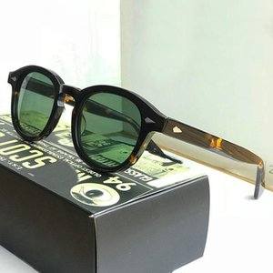 Johnny Depp Güneş Gözlüğü Erkekler Kadın Marka Vintage Asetat Çerçevesi En Kaliteli Sürüş Polarize Yeşil Lens Kutusu Ile SQ17