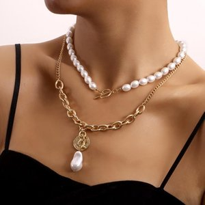 Pendant Necklaces Oval Imitation Pearls Clavicle Chain OT Buckle Coin Necklace For Women Layered 2021 Fashion Jewelry