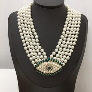 Chokers 2021 Brand Fashion Jewelry Women Vintage Pearls Chain Big Eyes Pendants Necklace Party Fine