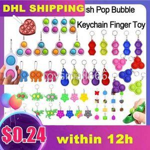 Clipe de metal simples covinho anel chave de silicone empurrar brinquedo brinquedo keychain fidget brinquedos sensoriais