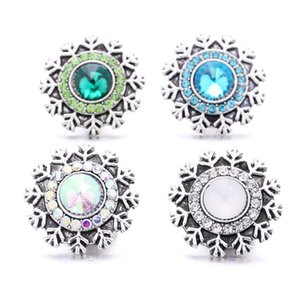 Rhinestone gadget 18mm Snap Button Clasp Flower charms for Snaps DIY Christmas Jewelry Findings suppliers Gift