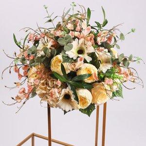 38 cm Ipek Peonies Gül Ortanca Yapay Çiçek Topu Centerpiece Dekor Düğün Backdrop Masa T Istasyonu Buketi için Dekoratif Çiçekler