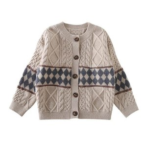 Pullover 2021 Spring Autumn Children's Cardigan Coat Girl's Sweater Long Sleeve Tunic Loose Casual Baby Boy's Knitting Printing Top