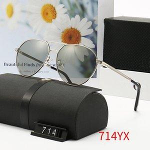 Lunettes de soleil métalliques métalliques de lunettes de soleil polarisées de marque 714 conduite lunettes de soleil Lady Big Cadres Beach Uv400 Lunettes Homme Shades Original Box WX14