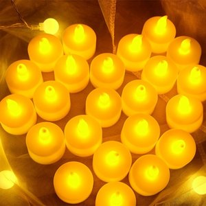 Yellow Colorful Ramadan decoration led candle flashing lamp Flameless Candles Weddings decoration 1lot 24pcs T2I52176