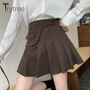 Skirts Trytree 2021 Autumn Winter Casual Woman Shorts Skirt High Waist Blends Tweed Asymmetric Pleated Sweet A-line Zip