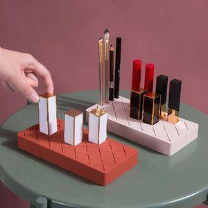 Makeup Organizer Silicone Lipstick Rack Cosmetic Storage Box Display Stand Holder Case Brush For Desktop Boxes & Bins