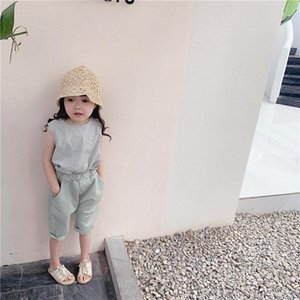 Vest Children's 2021 Summer Girls' Korean Plaid Ramie Cotton Shirt Baby Girl
