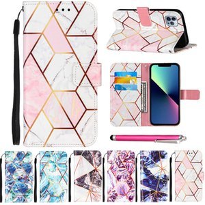 PU Leather Phone Cases for iPhone 13 12 mini 11 pro max xr xs 6 7 8 6s plus itouch5 Wallet Card Slots Beautiful Marble Stitching Anti- shock anti-proof cellphone cover