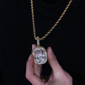 New Fashion Hip Hop Gold Plated CZ Cubic Zirconia Ghost Child Portrain Pendant Chain Necklace Iced Out Full Diamond Jewelry Gifts for Guys