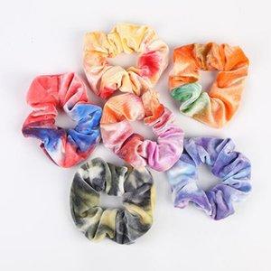 6 Colors Hoodail Header Headwear Gradient Color Scrunchies Бархатные эластичные полосы для волос Жеребьевые галстуки для волос Ropes для женщин или девочек