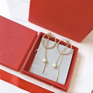 Tassel Circle Charm Pendientes Letra Diseñador Mujer Pendiente Brillante Diamante Clásico Partido Ornamentos de Moda Damas Joyería