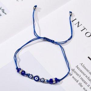 Coppie donne 12pcs / set blu turco malvagio occhio charms braccialetti cristallo tallone di cristallo regolabile corda catena catena per bambini gioielli ragazza 154 u2