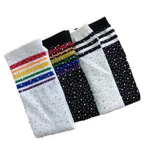 Crianças Joelho Alto Striped Socks Rhinestone Arco-íris Meninas Estoques Kids Meias Meninas Meninos Long Tubo Quente De Algodão Peúgas Para 3-12Y Y201009 95 Z2