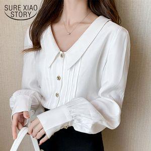 Women's Blouses & Shirts Elegant Vintage Collar White Women Autumn Long Sleeve Korean Style Office Lady Ropa De Mujer 10576
