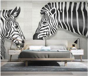 Wallpapers 3d Po Wallpaper Custom Mural Modern Minimalistic Animal Zebra Geometric Lines Background Home Decor For Walls 3 D