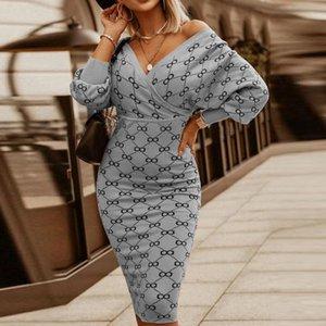 Casual Dresses Sexy V Neck Women Bodycon Package Party Dress Spring Autumn Stripe Plaid Print 2021 Elegant Lantern Sleeve