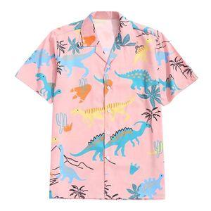 Мужские рубашки Гавайские напечатанные с коротким рукавом блузка мужчина Свободная кнопка Camisa Летние динозавры мультфильм Beatwork Chemise Masculina мужская повседневная