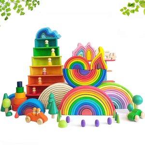 DIY 3D Wooden Rainbow Building Blocks Set Stacker Large Size Creative Montessori Educational Toys For Children Kids