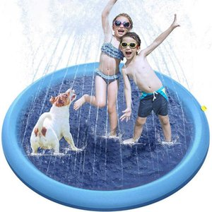 100cm Swimming pool for Kid Dog Pet Play Water Spray Splash Mat Sprinkler Cushion Outdoor Garden Fountain Toy Dog Pool for dogs X0710