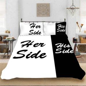 Blackwhite 그녀의 쪽 그의 사이드 침구는 여왕 / 킹 사이즈 더블 침대 3pcs / 4pcs 침대 린넨 커플 이불 커버 세트 592 v2