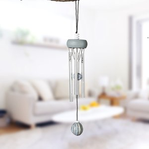 Wood Aluminum Tube Pendants Creative Mini Metal Wind Chime Home and Car Winds Chimes Pendant Decoration Craft Gifts BWD9147