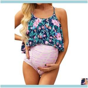 Suits Swimming Equipment Sports & Outdoors2021 Floral Split High Waist Briefs, Two-Piece Maternity Swimsuit, Large Size 2 Piece Sets Womens,