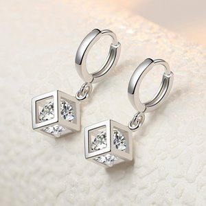 Romantic 925 Sterling Sier Crystal Square Bead Study Earrings for Women Betting Engagement Jewelry Prevention Allergy Eh783