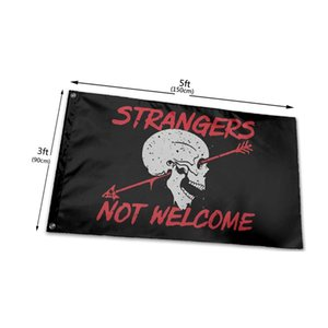 Strangers Not Welcome Flags 3' x 5'ft Festival Banners 100D Polyester Outdoor High Quality Vivid Color With Two Brass Grommets GWD10514
