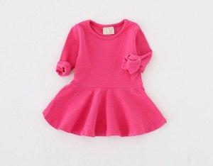 99 Bambino GS Semplici maniche lunghe Abiti, Dressfall 2021 Bambini Boutique Abbigliamento 0-4T Bambine Bambine in cotone Solido Color Abiti speciali Offerta speciale