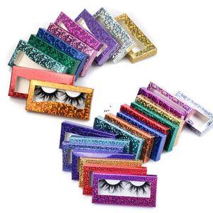 Glitter Laser Eyelash Paper Packing Box Eyelashes Packaging Case with Window for 25mm -28mm in Bulk AHA4441