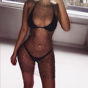 Bodystocking Body Sexy Fishnet Bodysuit Sexy Catsuit Lingerie Bodysuit Crystal Mesh Cover Up Body Stocking Suit Beach Dress