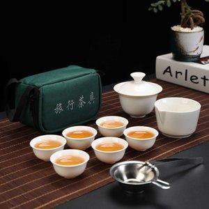 Cozinha Jantar Chine Viagem Kung Fu Set Cerâmica Portátil Teacup Serviço de Porcelana Gaiwan Cups Caneca de Bule de Cerimônia de Chá