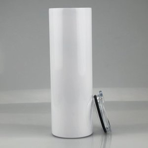 100pcs DIY sublimation skinny cup 20oz stainless steel slim tumbler straight tumblers vacuum insulated travel mug gift
