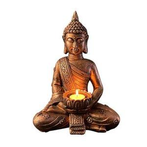 Candle Holders Tealight Holder Outdoor Indoor Living Room Resin Desktop Meditating Buddha Garden Bathroom Porch Spa Home Decor Patio