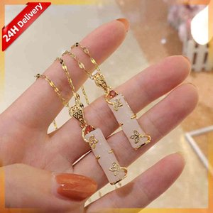HOVANCI Real Gold Plated Stainls Steel Necklace Jewelry Exquisite Long Bamboo Shape Pink Natural Jade Pendant Necklace