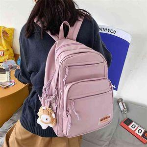 HOCODO Cute Women Backpack For Teenage Girl Student School Bag Solid Color Multiple Pockets Female Nylon Travel Backbag 210911