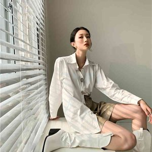 Women's Two Piece Pants Metal Button Up Shirt Long Sleeve Top And Bloues Desinger Collar White Spring 2021 Fashion Women Clothing