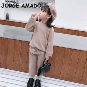 Clothing Sets Wholesale 2021 Spring Korean Style Baby Girl 2-pcs Sweater Solid Color Top+elastic Waist Pants Kids Clothes E2082