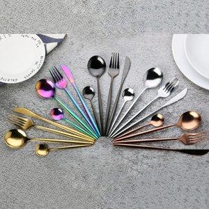Dhl جديد 4 قطعة / المجموعة أسود الذهب السكاكين مجموعة 18/10 الفولاذ المقاوم للصدأ أواني الطعام الفضيل أطباق مجموعة عشاء سكين شوكة ملعقة CJ17FY4691