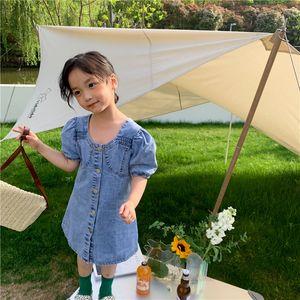 Children denim princess dress girls puff sleeve single shoulder thin jean A-line dresses summer kids clothings Q0233