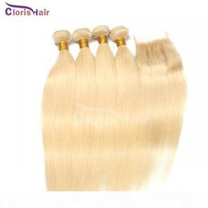 Bleach Blonde Hair Bundles Closure Raw Virgin Indian Silk Straight Human Hair Weaves With Top Lace Closure Cheap Blond 613 Weft With Closure