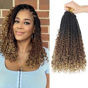 Goddess Box Braids Crochet Hair With Curly Ends 14 Inch Bohomian Box Braids Crochet Braid 8 Packs 3X Crochet Braids Synthetic Braiding Hair Extension for Black Women