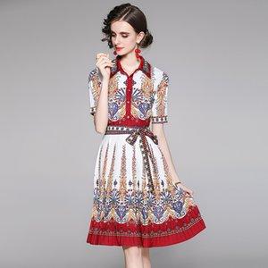Fille Bow imprimé robe à manches courtes Boutique robes d'été haut de gamme TRENDY Femmes robes plissées Robes rétro dame imprimées