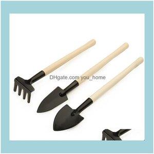 Garden Tools Home & Gardenmini Rake Set Portable Gardening Tool Wooden Handle Metal Head Shovel Harrows Spade For Flowers Pot Drop Delivery