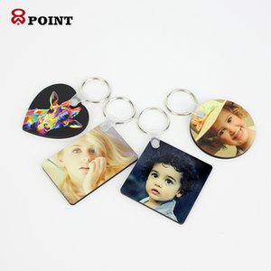 Party Favor Keychain Sublimation Various shapes MDF Square Wooden Pendant Thermal Transfer Double-sided Ring White DIY Gift 60*40*3mm A03