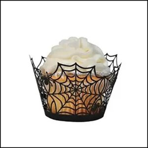 Bakeware Kitchen, Dining Bar Home & Gardenhalloween Spiderweb Paper Wrapper Cupcake Toppers Kids Favors Party Decoration Topper Halloween Ca