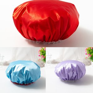 Adults Solid Color Women's Makeup Shower Cap Fashionable Girls Lace Bathing Hats Lovely Home Beauty Salon Water-proof Caps G38XXS7