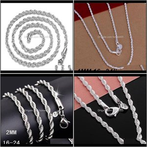 Chains & Pendants Drop Delivery 2021 Selling 925 Sterling Sier Necklaces Jewelry Twist Rope Chain Necklace 4Mm 16Inch 18Inch 20Inch 22Inch 24